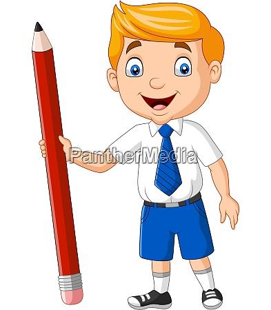 cartoon school boy trzyma olowek