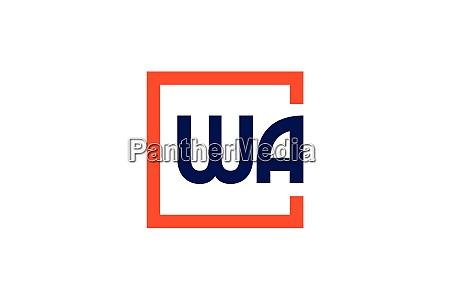 w a wa initial letter logo