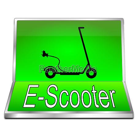 zielony przycisk e skutera ilustracja