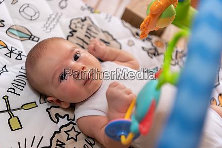 adorable, little, baby, boy, lying, on - 28459121