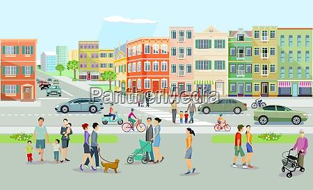 krajobraz miejski z drogami i ludzmi