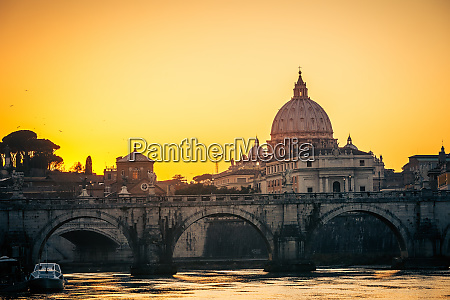 st peters cathedral at dusk rome