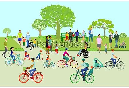 czas wolny w parku z rodzinami