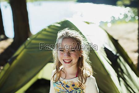 smiling, girl, outside, tent - 28737729
