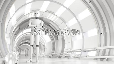 trojwymiarowy render androida stojacego ze skrzyzowanymi