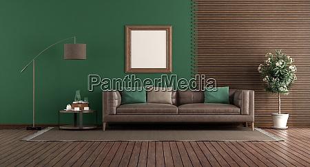 zielony salon ze skorzana sofa