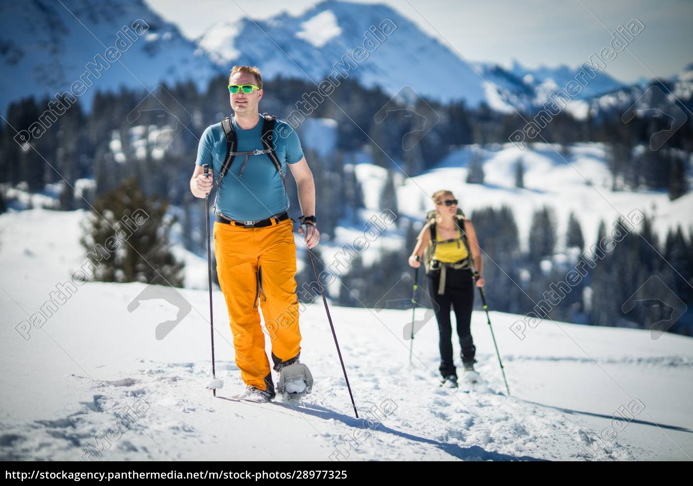sporty, zimowe, -, dwóch, przyjaciół, wędrówki - 28977325