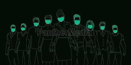 ludzie biznesu noszacy maski medyczne
