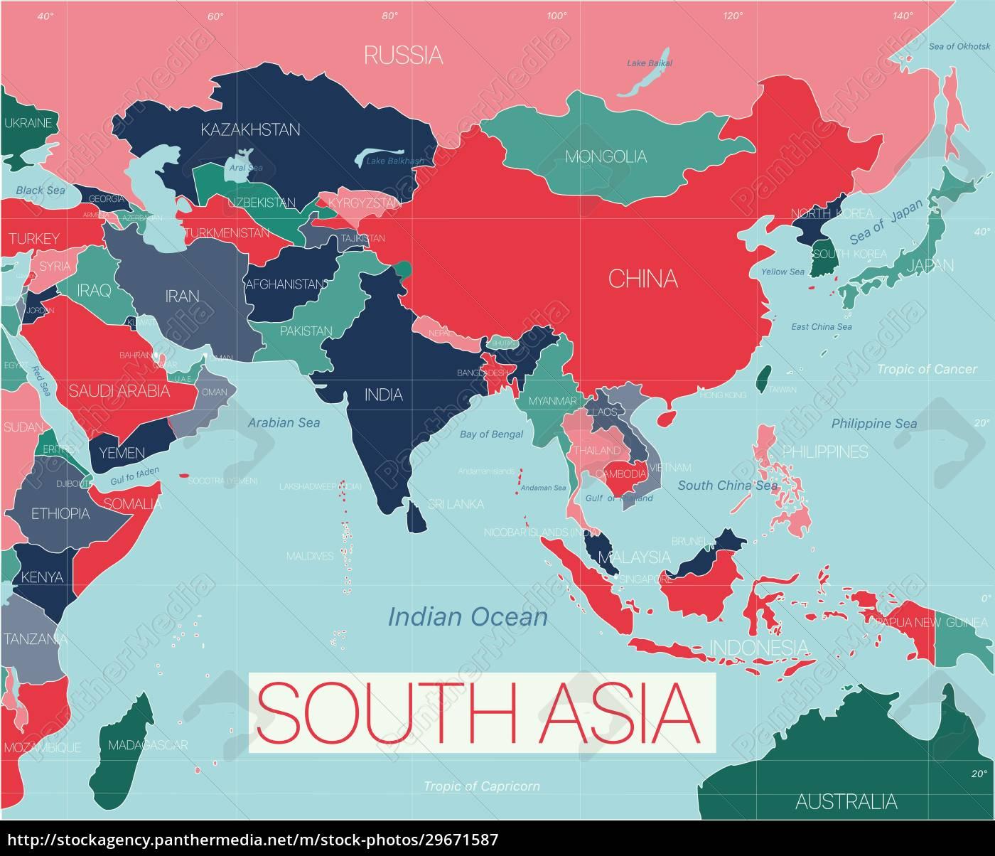 region, azji, południowej, szczegółowa, edytowalna, mapa - 29671587