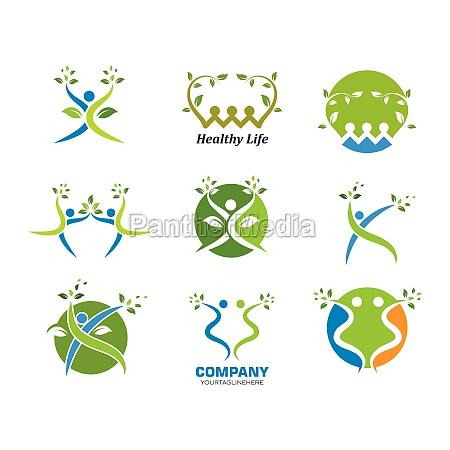 ludzie, zdrowego, życia, wektor, szablonu, logo - 29676710