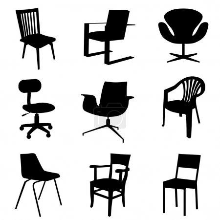 Grupa, krzesła, wektor, tłó, Obiekt, elementu - B10546513