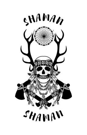 wektor, ilustracja, etniczna, głowa, stary, retro - B94512896