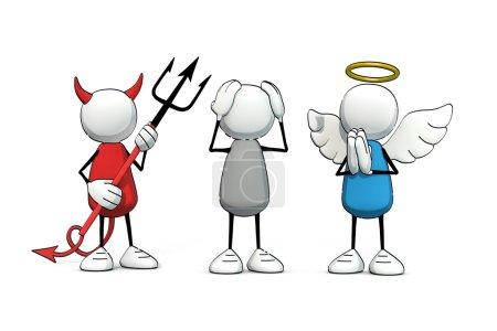 red, biały, niebieski, ilustracja, osoba, człowiek - B73782957
