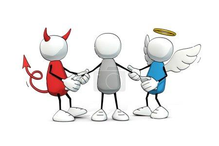red, biały, niebieski, ilustracja, osoba, człowiek - B76366545