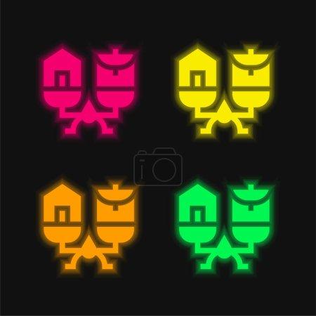 zielony, Czerwony, Żółty, wektor, Życie, ikona - B471107314