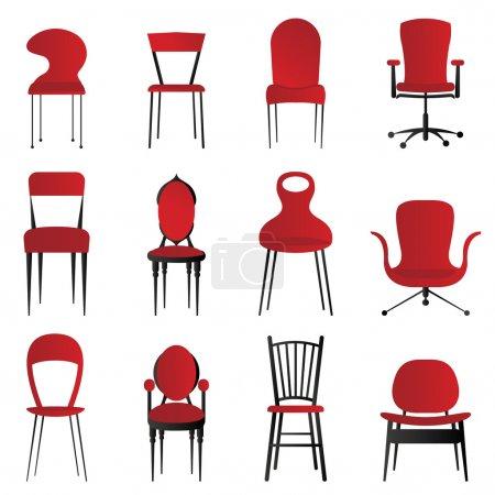 red, Grupa, krzesła, wektor, tłó, Obiekt - B7514202
